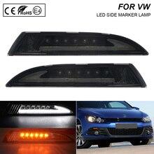 2x Rauch Objektiv LED Front Seite Marker Lichter blinker lampe (Bernstein) LED position lichter (Weiß) für VW Scirocco 2008 2013