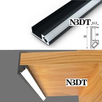 Black Aluminum 18MM Panel Edge Cover Conceal LED Bar Stick For Wine Cupboard Closet Cabinet Bookshelf