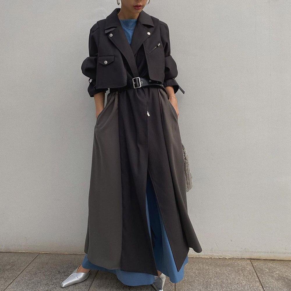 2020 осенне-весеннее Женское пальто, элегантная офисная Корейская ветровка, женские Лоскутные свободные длинные шикарные тренчи с поясом