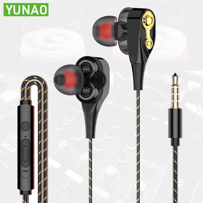 Double speaker wired earphones New super bass with microphone ln-ear earphone 3.5mm universal gaming noise canceling Earphone