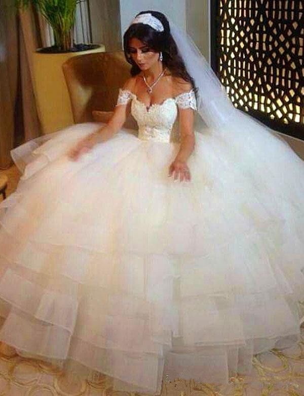 Off The Shoulder Sweetheart Lace Applique Ball Gown Elegant Wedding Dresses 2019 Vestido De Noiva Robe De Mariee Wedding Dresses