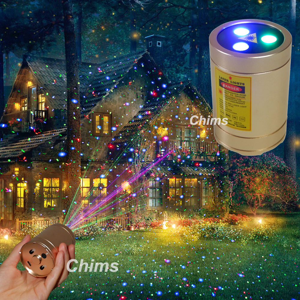 Chims Mini Outdoor Laser Projector RGB Star Points Handheld Portable Cordless For Xmas Garden Patio Landscape Camping Yard Gift