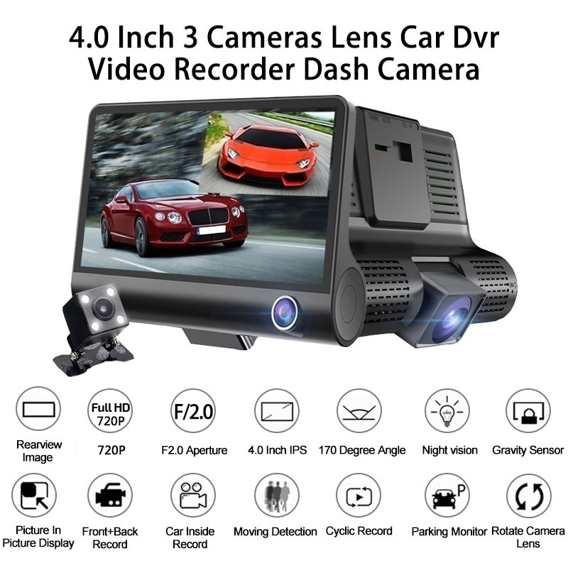 Vehemo <font><b>Car</b></font> <font><b>Dvr</b></font> Dash Cam 3 Rear View Camera HD Multi-Function Auto <font><b>Kamera</b></font> Universal 4 Inch Vehicle 1080P Driving Video Recorder image