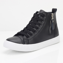 New Arrival High Back Lace Up Black Woman Shoes with Zipper