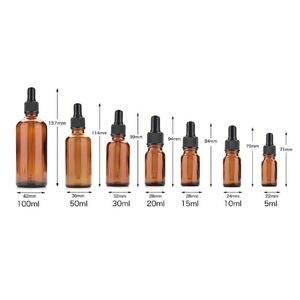 Image 3 - 20 sztuk 5ml/10ml/15ml/20ml/30ml/50ml pusty bursztyn brązowy szklany zakraplacz butelki olejek aromaterapia pipety pojemniki