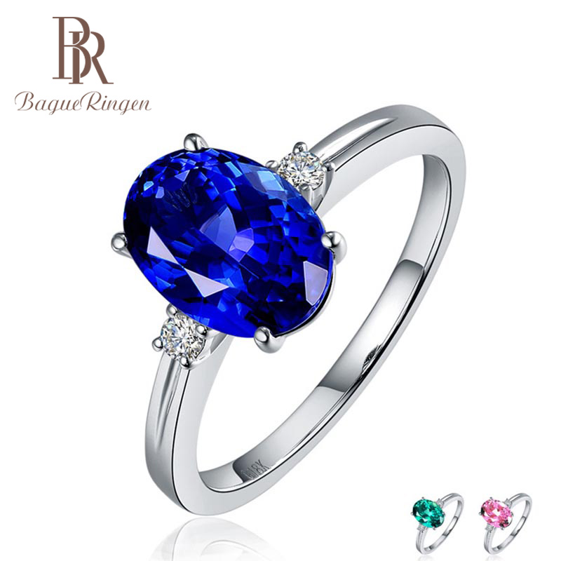 Bague Ringen Silver 925 Ring with oval blue sapphire stone for Women Engagement Ring Silver woman party Gemstones Jewelry