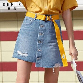 SEMIR Denim Skirt Women 2020 Summer New Trendy Hole Retro Old Irregular A-line Skirt women streetwear sexy clothing