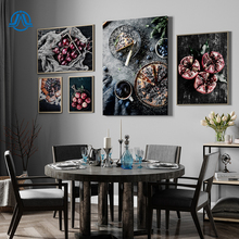 Food Kitchen Poster Wall Art Canvas Print Blueberry Pie Pomegranate Apple Painting Decorative Picture Modern Dining Room Decor