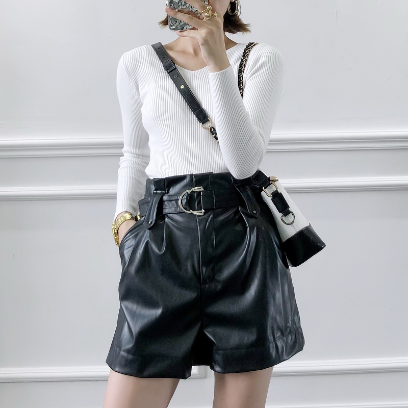 Women Black Leather Shorts Autumn 2019 New Fashion Belt High Waist Loose Short Modern Girl Wide Leg Bottom