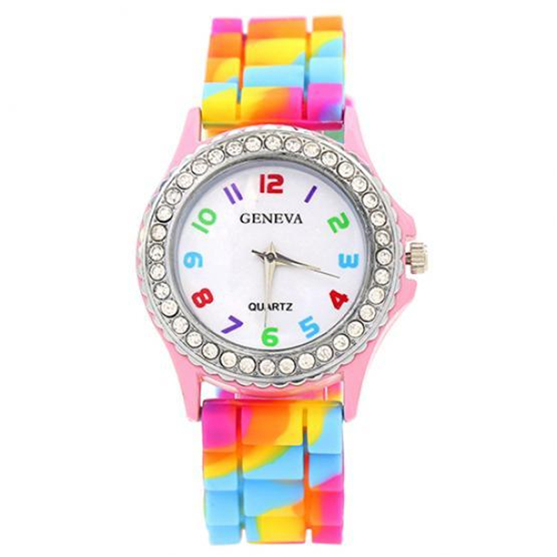 2020 Women Rainbow Watches Silicone Band Quartz Wristwatches Geneva Watches Women Crystal Watches Clearance Sale Orologio Donna