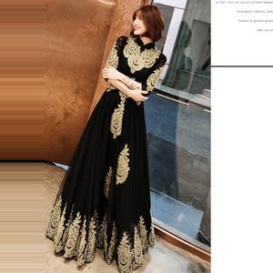 Image 4 - שמלת ערב גובה צווארון ארוך בתוספת גודל אלגנטי 2019 סקסי הולו נשים המפלגה שמלה חצי שרוול חלוק דה Soiree נשף שמלה e536