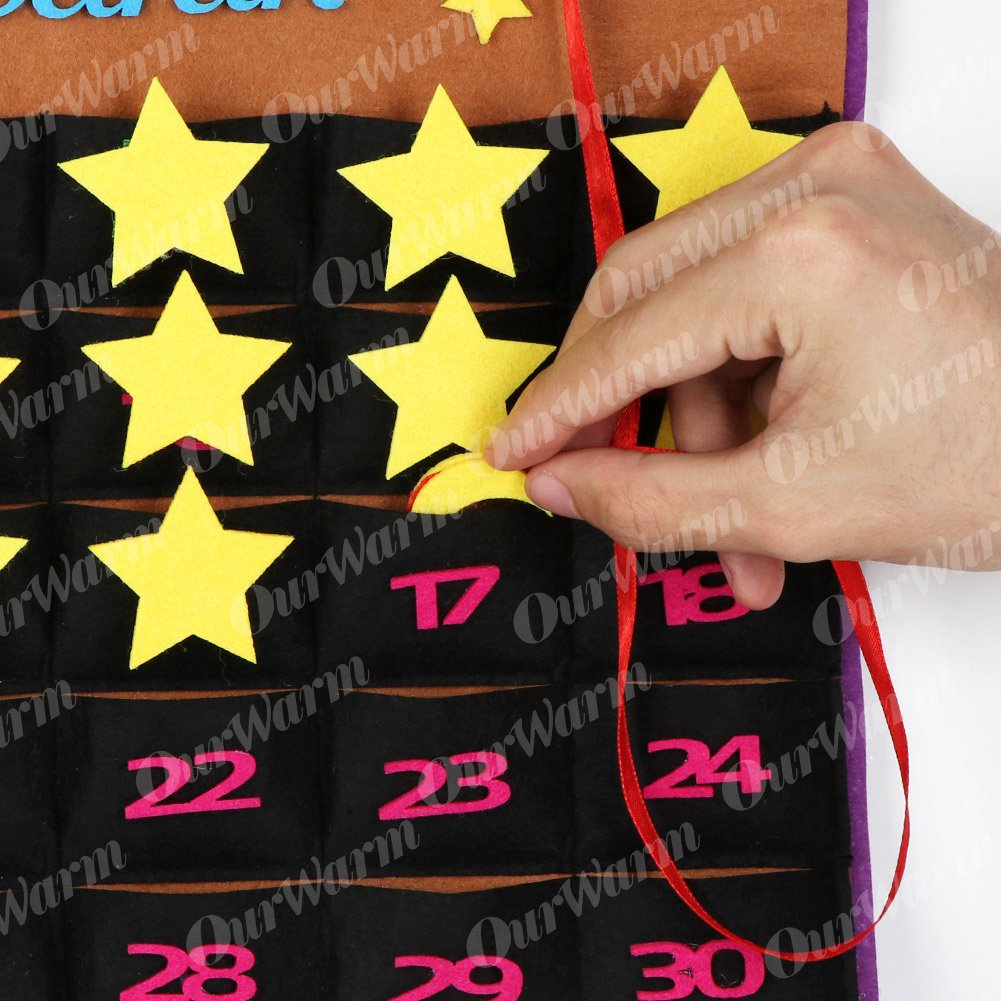OurWarm Eid Mubarak DIY Felt Ramadan Calendar with Pocket for Kids Gifts Countdown Calendar Muslim Balram Party Decor Supplies