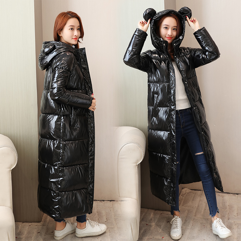 2019 Бесплатная доставка Новая мода осень зима утолщенный удлиненный толстый пуховик хлопковая куртка для женщин культивирование супер колено
