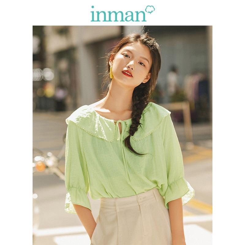 INMAN Spring Autumn Viscose Blending Light Green Lacing Turn Down Collar Flare Medium Sleeve Women BlouseBlouses & Shirts   -