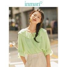 INMAN весна осень вискоза смешивание светильник зеленая шнуровка отложной воротник клеш средний рукав женская блузка