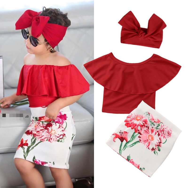 3pcs Lovely Kids Children Clothes Set Little Girls Red Ruffles Off Shoulder Tops+Floral Skirt+Headband Outfit Clothing Sets