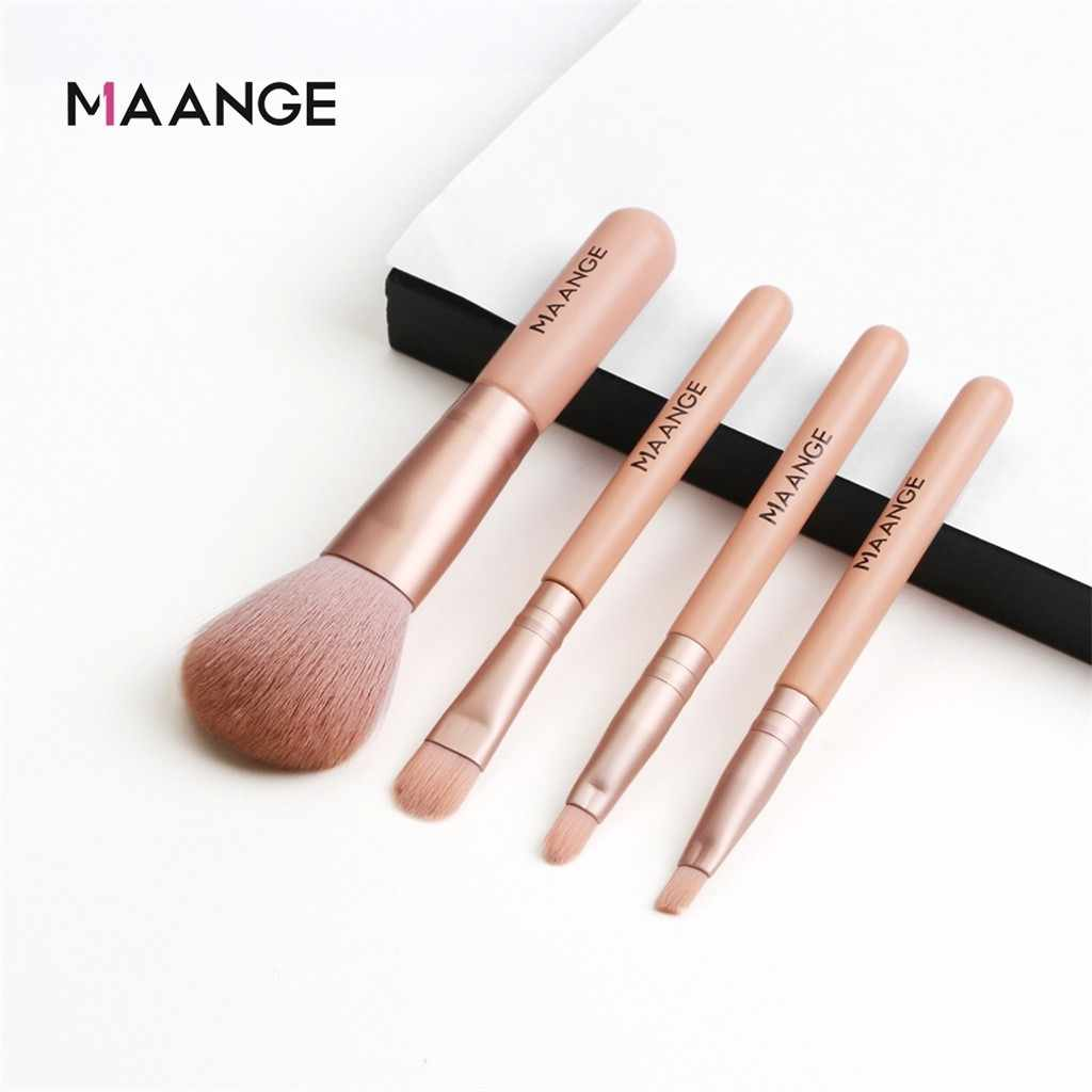 Maange Makeup Brushes Rambut Mini Makeup Brush Set dengan 4 Pcs Mikro Crystal Rambut Blush Eye Shadow Sikat D301224