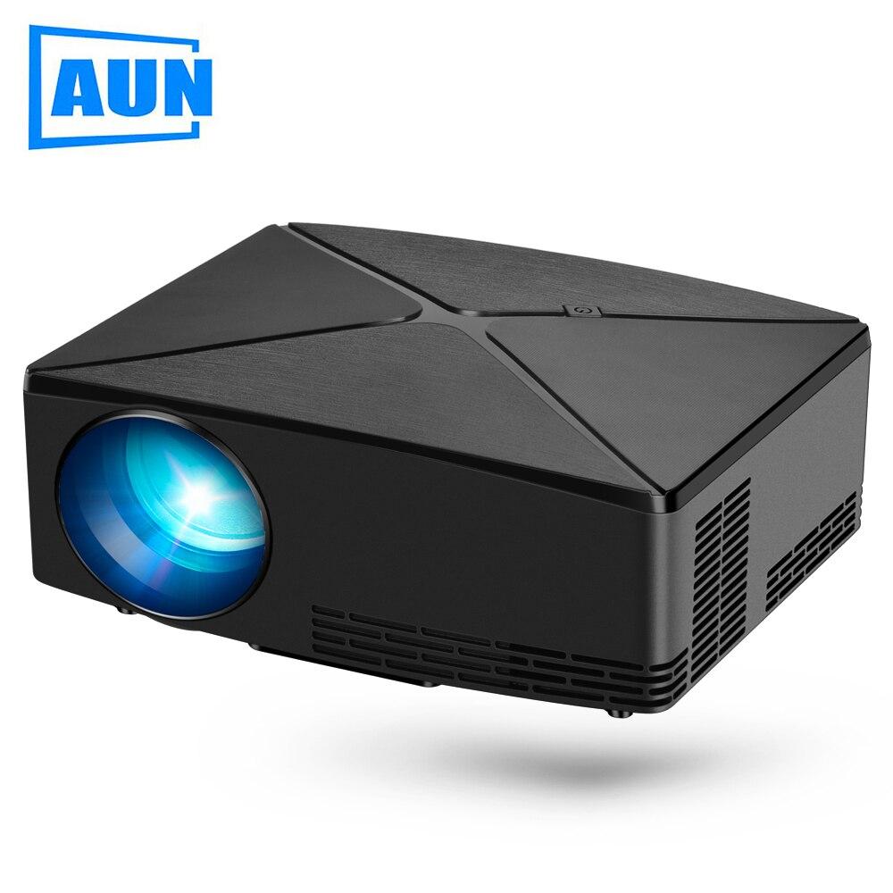 AUN Proyector C80 UP, résolution 1280x720, 2200 Lumens avec projecteur Android WIFI HD pour Home Cinema, MINI projecteur C80 en option