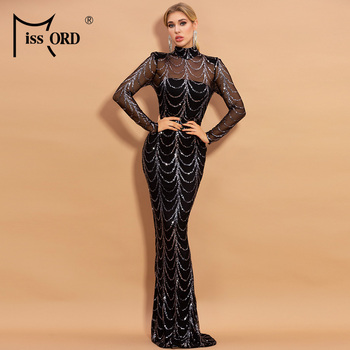 Missord 2020 Summer High Neck Wave Sequins See Though Women Maxi Dresses Elegant Long Sleeve Female Party M0032