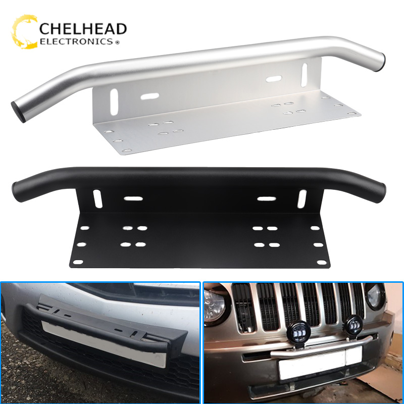 Universal license plate frame off road accessories front frame for car numbers light bar mount bumper holder black silver