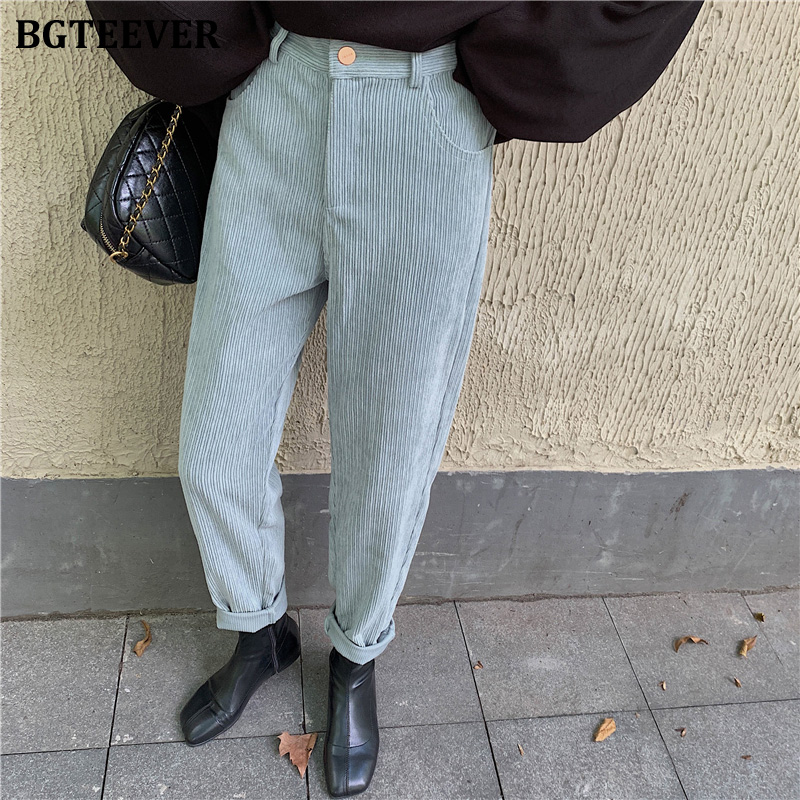 BGTEEVER Spring Summer Women Corduroy Pants Vintage High Waist Female Straight Pants Casual  Women Trousers Capris 2020