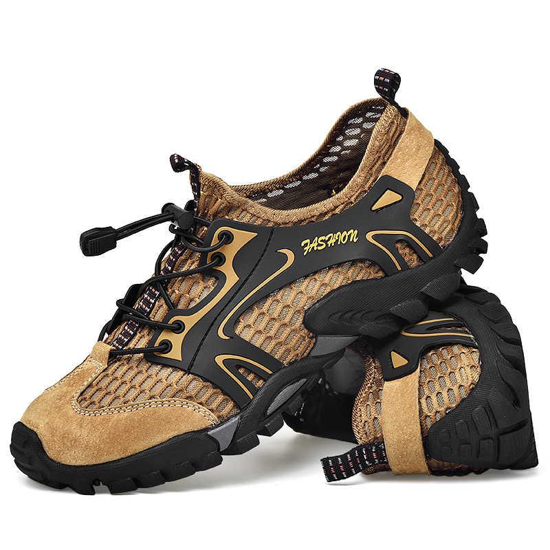 Büyük boy 39-48 erkekler dağ yürüyüş ayakkabıları örgü Breathalbe açık Trekking Sneakers rahat tırmanma ayakkabı erkekler