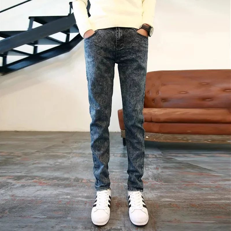 Man Elastic Force Bound Feet Pants Male Teenagers Trend Joker Jeans Soild Color Tight-fitting Stretch Feet Pencil Pants