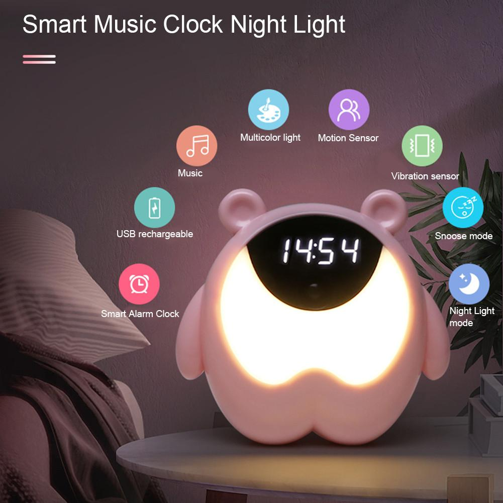 Cute Bear Bedside Alarm Clock Night Light RGB Wake Up Lights Motion Sensor Music Lamp For Kids Gifts Baby Children Bedroom Decor