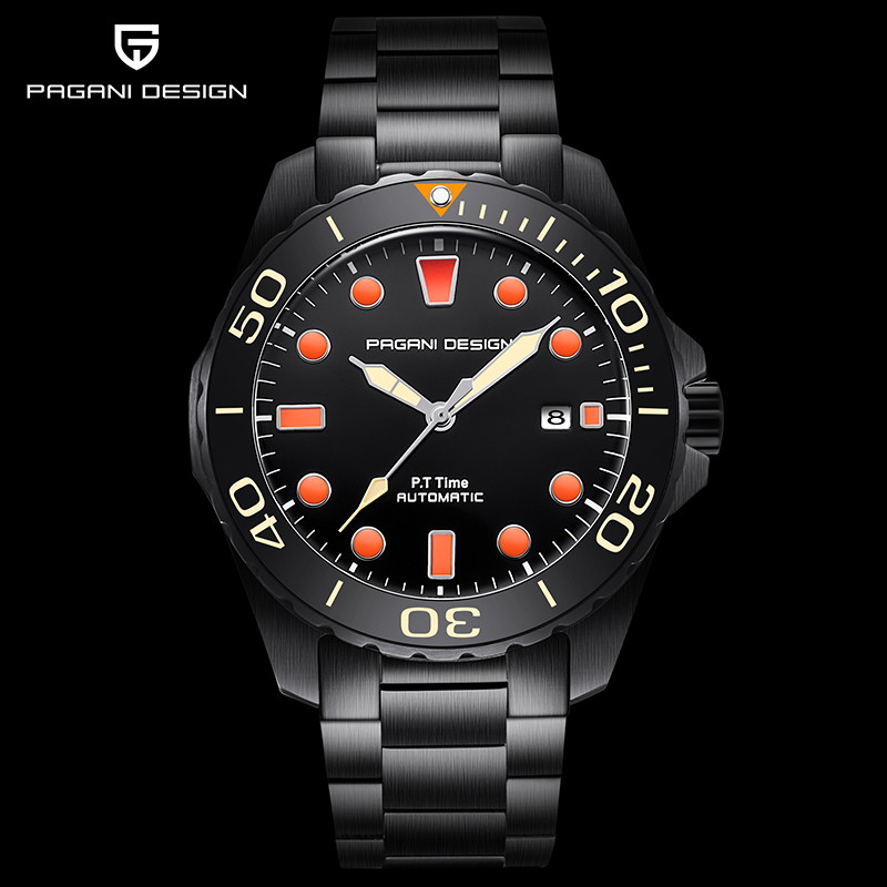 New Top Luxury Brand PAGANI DESIGN Men's Watches Mechanical Buiness Black Wristwatch Men Automatic Steel Clock Relogio Masculino