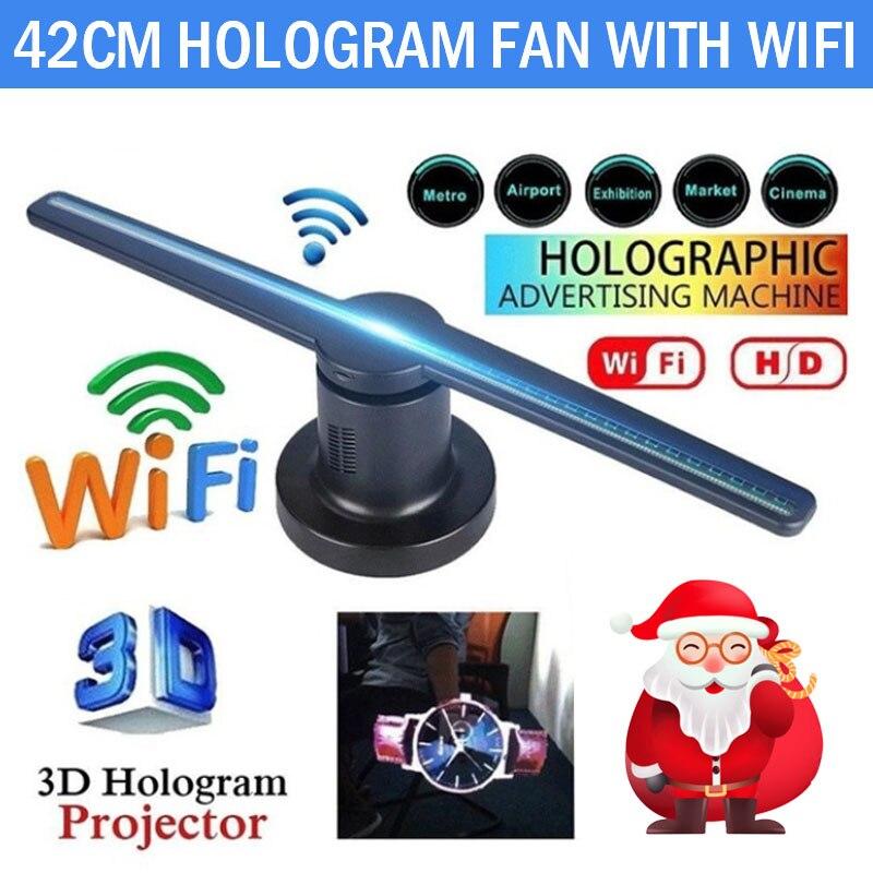 Wifi 3D hologramme projecteur ventilateur avec 16G TF holographique affichage 224 LED s fête décorations hologrammes LED 42cm magasin signes drôle - 2