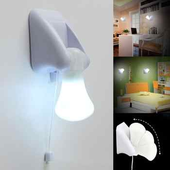 LED Wall Lamp Pull-String Smart Night Lights Bedside Cabinet White Lamps Portable Wall Emergency Lamp Hallway Bedroom