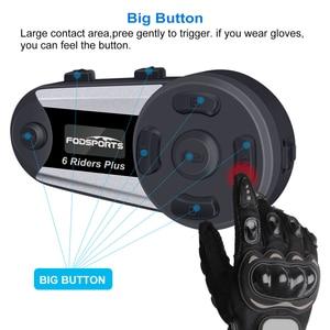 Image 4 - Fodsports V6 Plus Motorcycle Helmet Intercom Wireless Bluetooth Headset LED Screen FM Radio Full Duplex Intercomunicador