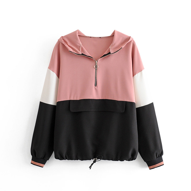 2019 Women Fashion Color Matching Zipper Decoration Casual Sweatershirts Ladies Autumn Front Pocket Hoodies Pullover Tops H089