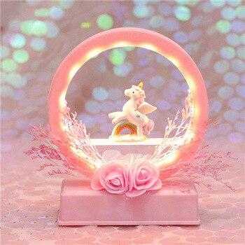 Ночной светильник sky music box, светильник, многофункциональный музыкальный колокольчик, сухой цветок, единорог, Ночной светильник, лунная лампа, лампа на батарейках, Светодиодная звезда