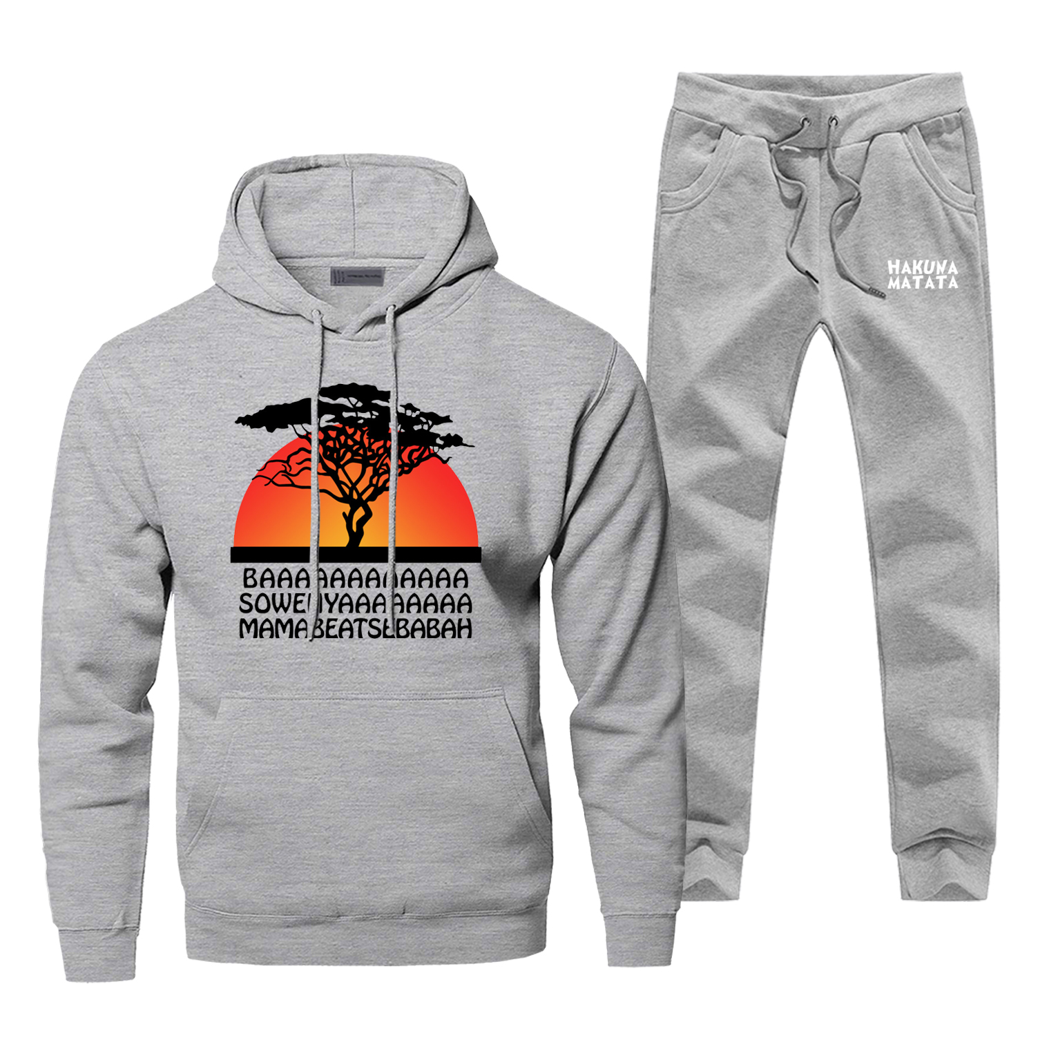 The Lion King Hakuna Natata Men Hoodie Male Pants Set Sweatshirt Mens Hoodies Sweatshirts Sets Two Piece Pant Pullover 2Pcs Coat