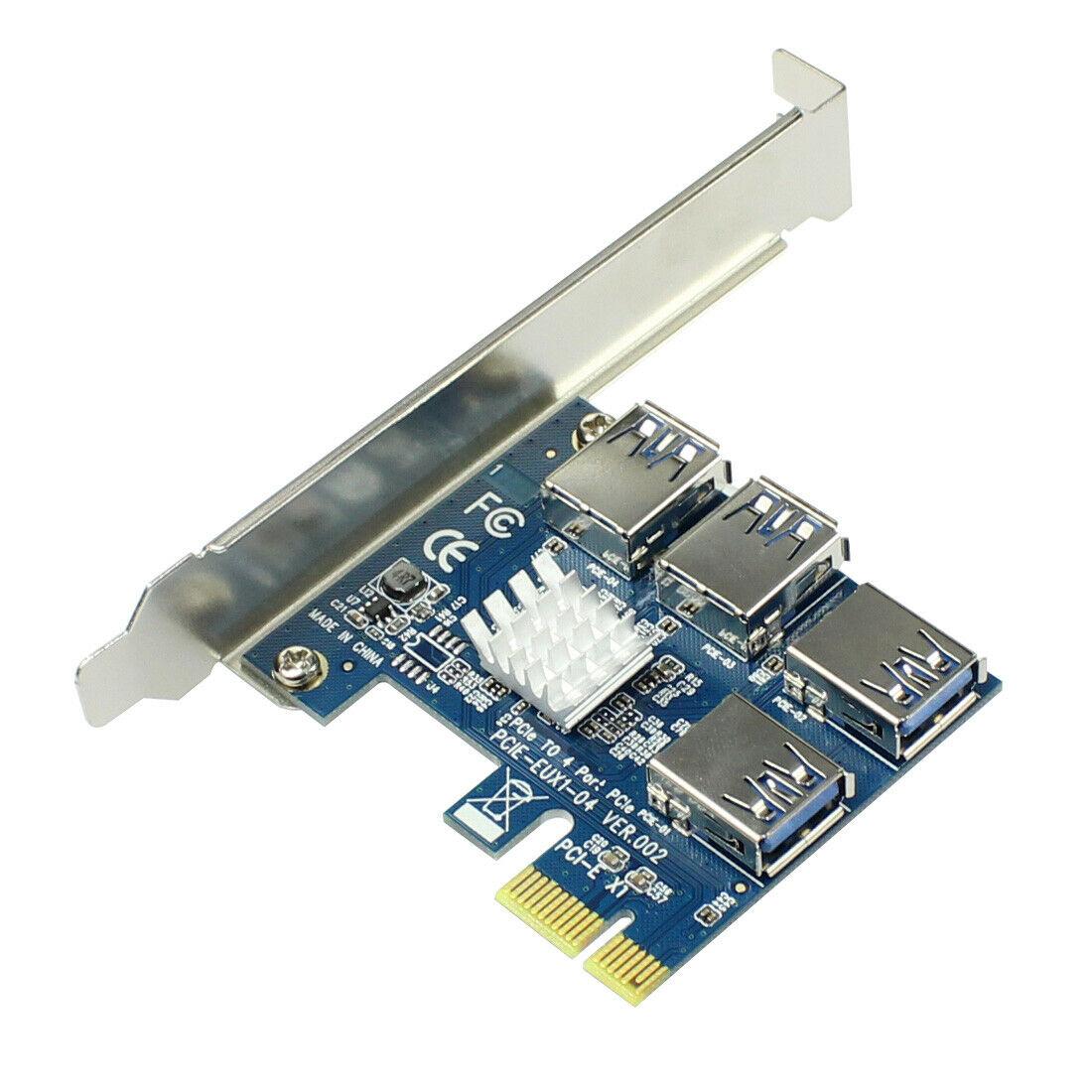 PCI-E к адаптеру PCI-E 1 поворот 4 PCI-Express слот 1x к 16x USB 3,0 майнинговая специальная переходная карта PCIe конвертер для BTC Miner Mining