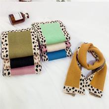 Бархатные зимние детские теплые шарфы с имитацией кролика толстый шарф для девочки и мальчика Милая леопардовая детская шаль родитель-детский нагрудник