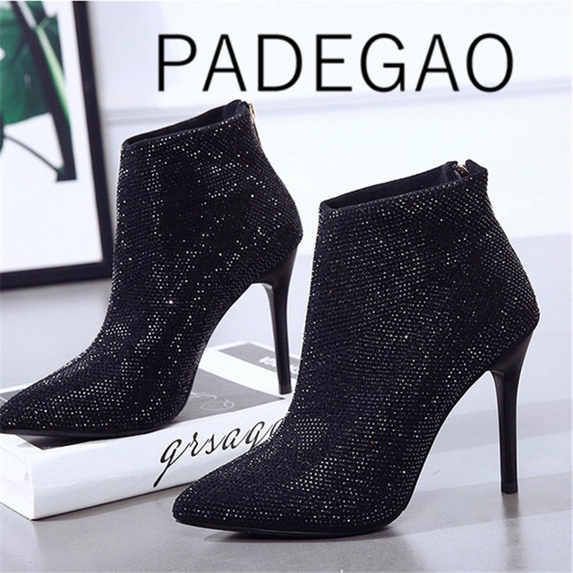 2019  Pointed Toe  High Heel  Ankle Boots for Women  Slip On  Basic  Thin Heels Summer Shoes