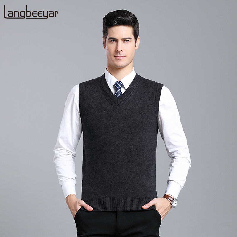 2019 New Fashion Brand Sweaters Mens Pullover V Neck Slim Fit Jumpers Knitting Vest Sleeveless Winter Casual Clothing Men