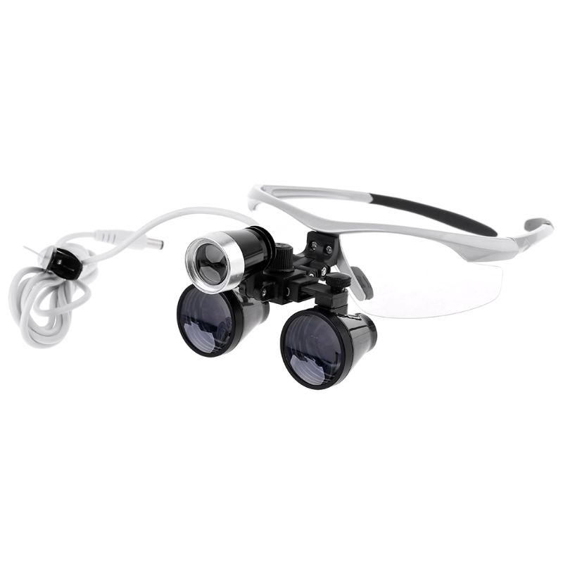 2.5X/3.5X 420mm Dental Loupe Magnifier Operation w Head Light