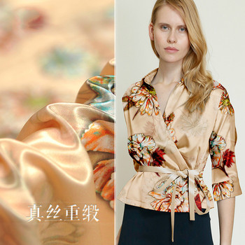 Luxury heavy silk fabric meter  114cm wide 40mm printed dress fabricsoft and thick natural silk fabric wholesale silk cloth