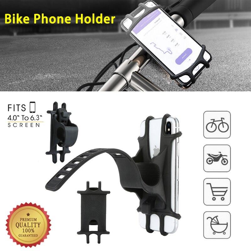Bike Phone Holder Silicone Adjustable Pull Button Anti-shock Phone Holder Mount Bracket Fork For Bicycle Phone Holder Phone 2019