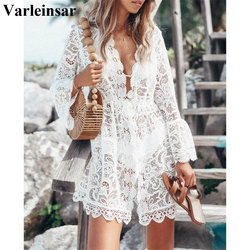 Sexy White Lace Tunic Beach Cover Up Bikini Swimsuit Swimwear Cover-ups New Beach Dress Beach Wear Beachwear Female Women V2202