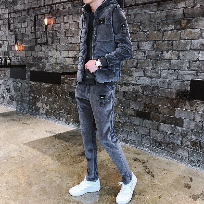 2019 Man's Winter Tracksuit Korean Velvety Thermal Three-piece Set Man Sweatsuits Add Wool Thicken Plus Size Man Tennis Uniform