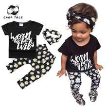 Baby Girls Clothing Sets Infant Boys Print Cotton Tops T-shirt+Pants Leggings 3pcs Outfits Set Costume Newborn Clothes 3-24M baby boys police costume clothing set with hat infant t shirt pants hat newborn cap cosplay ropa bebe costume for babies