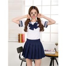 Японская школьная форма, 7 цветов, костюм моряка для маскарада, костюмы для девочек в морском стиле, топы с бантом и плиссированная юбка, школьная форма