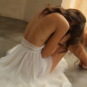 Image 3 - Camisola de renda aberta feminina, lingerie sexy, vestido para dormir, costas abertas, perspectiva para casa, vestido de sala privativa