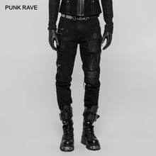 PUNK RAVE Men's Gothic Decadent Black Twill Trousers with Stitching Patches and Zip Features Punk Rock Men Pants Streetwear