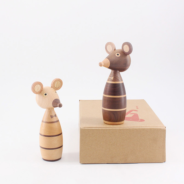 Wooden ornaments couple mouse creative home decoration porch puppet coffee shop decorative arts and crafts gift 2