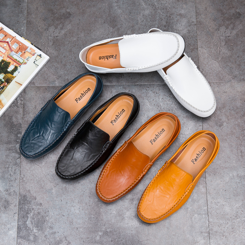 2020Fashion Men Shoes Genuine Leather Casual Comfortable Loafers Male Moccasins Breathable Waterproof Slip On Driving Footwear